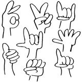Hand Gestures Icon Set Stock Photos