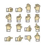 Hand gestures icons set, contrast color Royalty Free Stock Image