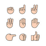 Hand gestures. icons set. Stock Photo