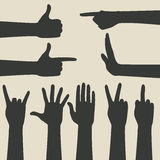 Hand gestures icons set Royalty Free Stock Photos