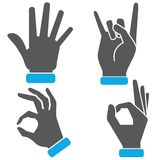 Hand gestures icons. Set of 4 hand gestures icons on white background Stock Photos