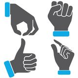 Hand gestures icons. Set of 4 hand gestures icons on white background Stock Photography
