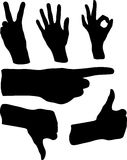 Hand Gestures Illustration. Different black hand gestures in Vector Illustration Royalty Free Stock Photos