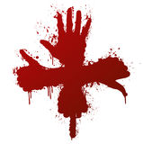 Hand gestures ink splatter concept. Vector illustration of a hand gestures conceptual ink splatter design element. Bloody red Royalty Free Stock Photo