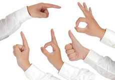 Hand Gestures Isolated on White Stock Image