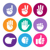 Hand gestures. line icons set. Stock Image