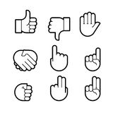 Hand gestures. line icons set. Stock Photography