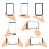 Hand gestures. line icons set. Royalty Free Stock Photos