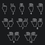 Hand gestures line icons set. Vector. Illustrations Royalty Free Illustration