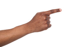 Hand gestures - man pointing away, isolated Royalty Free Stock Photography