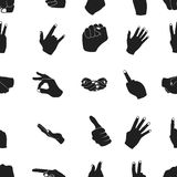 Hand gestures pattern icons in black style. Big collection of hand gestures vector symbol stock illustration. Hand gestures pattern icons in black style. Big Stock Image