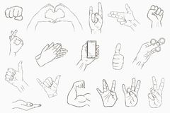 Hand gestures set. Collection of hand-drawn signs. Vector. Hand gestures set. Collection of hand-drawn signs. Vector illustration Royalty Free Stock Photography