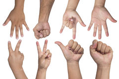 Hand gestures - Set of counting hands isolated Royalty Free Stock Image