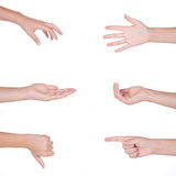 Hand gestures set of female isolated Royalty Free Stock Photography