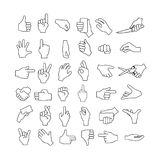 Hand gestures set. Showing, pointing and holding things. Black and white lines Royalty Free Stock Photos