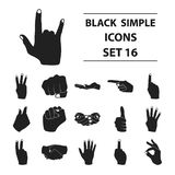 Hand gestures set icons in black style. Big collection hand gestures vector symbol stock illustration. Hand gestures set icons in black style. Big collection Royalty Free Stock Image