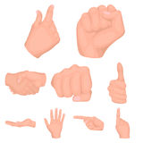 Hand gestures set icons in cartoon style. Big collection of hand gestures vector symbol stock illustration. Hand gestures set icons in cartoon style. Big Stock Image