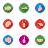 Hand gestures set icons in flat style. Big collection of hand gestures vector symbol stock illustration Stock Photo