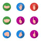 Hand gestures set icons in flat style. Big collection of hand gestures vector symbol stock illustration Royalty Free Stock Photos