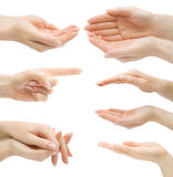 Hand gestures set, isolated Royalty Free Stock Photos