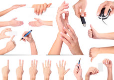 Hand gestures set, isolated Royalty Free Stock Images