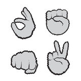 Hand Gestures Set People Emotion Icon Collection Stock Image