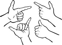 Hand Gestures Set. Variation of hand signs isolated illustration Stock Images