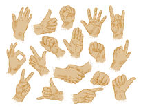 Hand gestures. set of vector symbols and icons Royalty Free Stock Photography