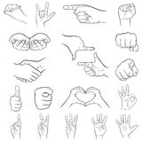 Hand gestures set, white background Stock Photography