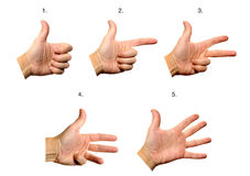 Hand gestures. Show counting from 1 to 5 Stock Photography