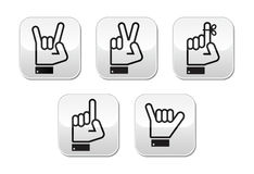 Hand  gestures, signals and signs - victory, rock, point buttons Royalty Free Stock Images