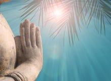 Hand gestures of sun salutations NAMASKARA by Buddha royalty free stock images