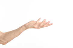 Hand gestures theme: the human hand shows gestures isolated on white background in studio Stock Images