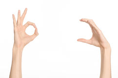 Hand gestures theme: the human hand shows gestures isolated on white background in studio. Hand gestures theme: the human hand shows gestures isolated on white stock photos