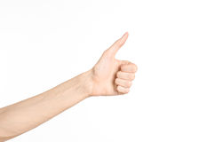 Hand gestures theme: the human hand shows gestures isolated on white background in studio Royalty Free Stock Image