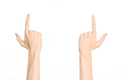 Hand gestures theme: the human hand shows gestures isolated on white background in studio Royalty Free Stock Images