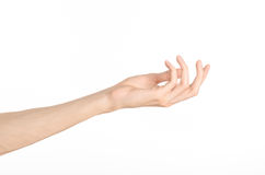 Hand gestures theme: the human hand shows gestures isolated on white background in studio Royalty Free Stock Photography