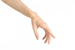 Hand gestures theme: the human hand shows gestures isolated on white background in studio Stock Photo