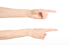 Hand gestures theme: the human hand shows gestures isolated on white background in studio Royalty Free Stock Photos