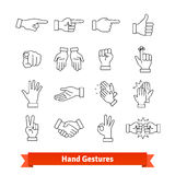 Hand gestures thin line art icons set Stock Photo