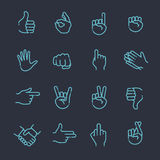 Hand gestures thin line icon set. Hand gestures. line icons set. Flat style vector icons, emblem, symbol Royalty Free Stock Photo