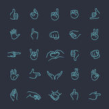 Hand gestures thin line icon set. Hand gestures. line icons set. Flat style vector icons, emblem, symbol Royalty Free Stock Photos