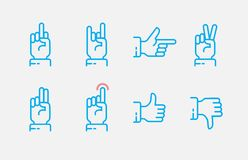 Hand gestures thin line icon set. Vector touch screen gestures icons in thin line style. EPS 10 royalty free illustration