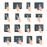 Hand Gestures On Touch Digital Devices vector illustration