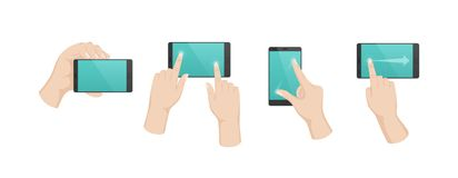 Hand gestures with touchscreen. Turning over, flipping content, increasing scale. Hand gestures with touchscreen phone. Finger gestures with arrows, directions royalty free illustration