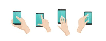 Hand gestures with touchscreen phone. Unlock screen, increase content, move. Hand gestures with touchscreen phone. Finger gestures with arrows, directions of royalty free illustration