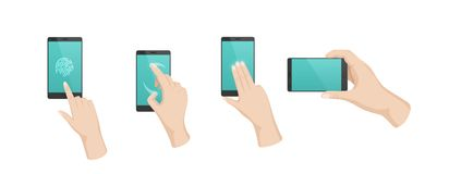 Hand gestures with touchscreen phone. Fingerprint unlocking, flipping, moving. Hand gestures with touchscreen phone. Finger gestures with arrows, directions of stock illustration