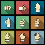 Hand gestures UI design elements, squared shadows Royalty Free Stock Photography