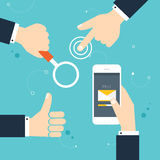 Hand gestures: using modern digital devices, holding phone Royalty Free Stock Photography