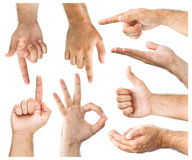 Hand gestures. On white  background Stock Photo